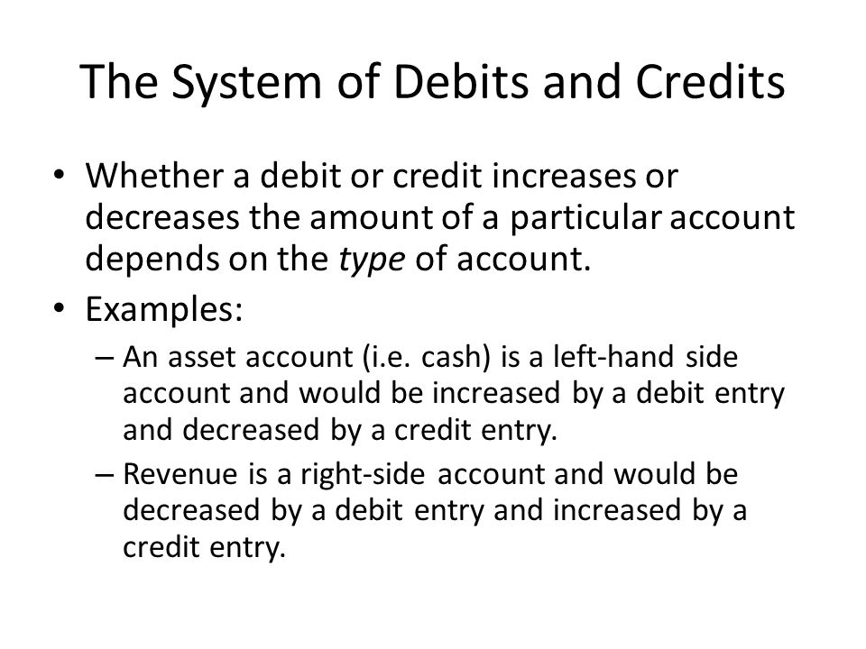 The System of Debits and Credits