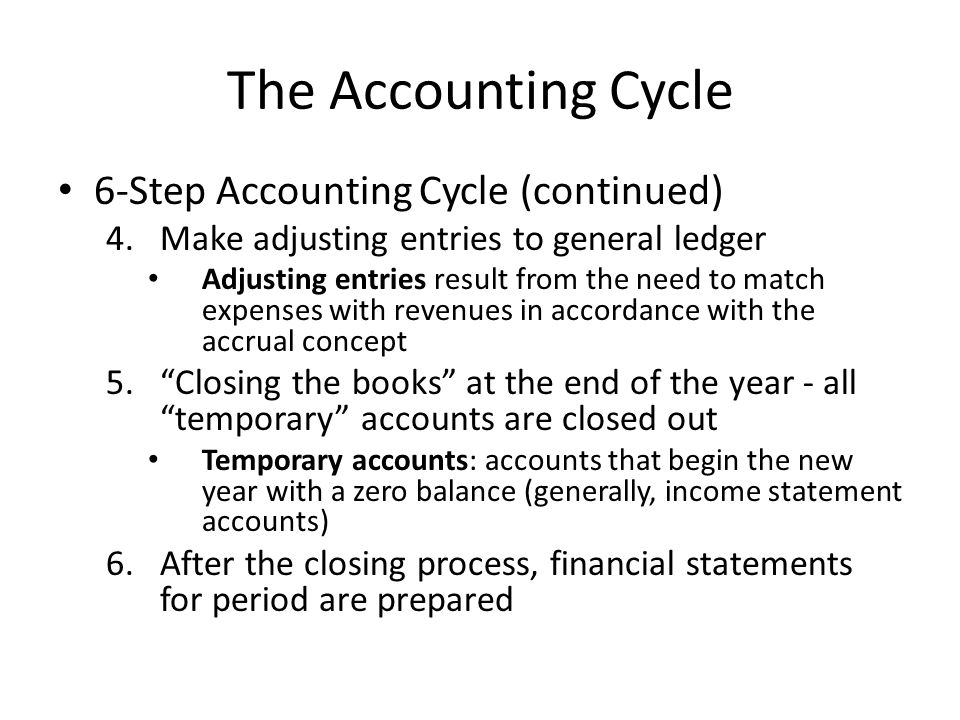 The Accounting Cycle 6-Step Accounting Cycle (continued)