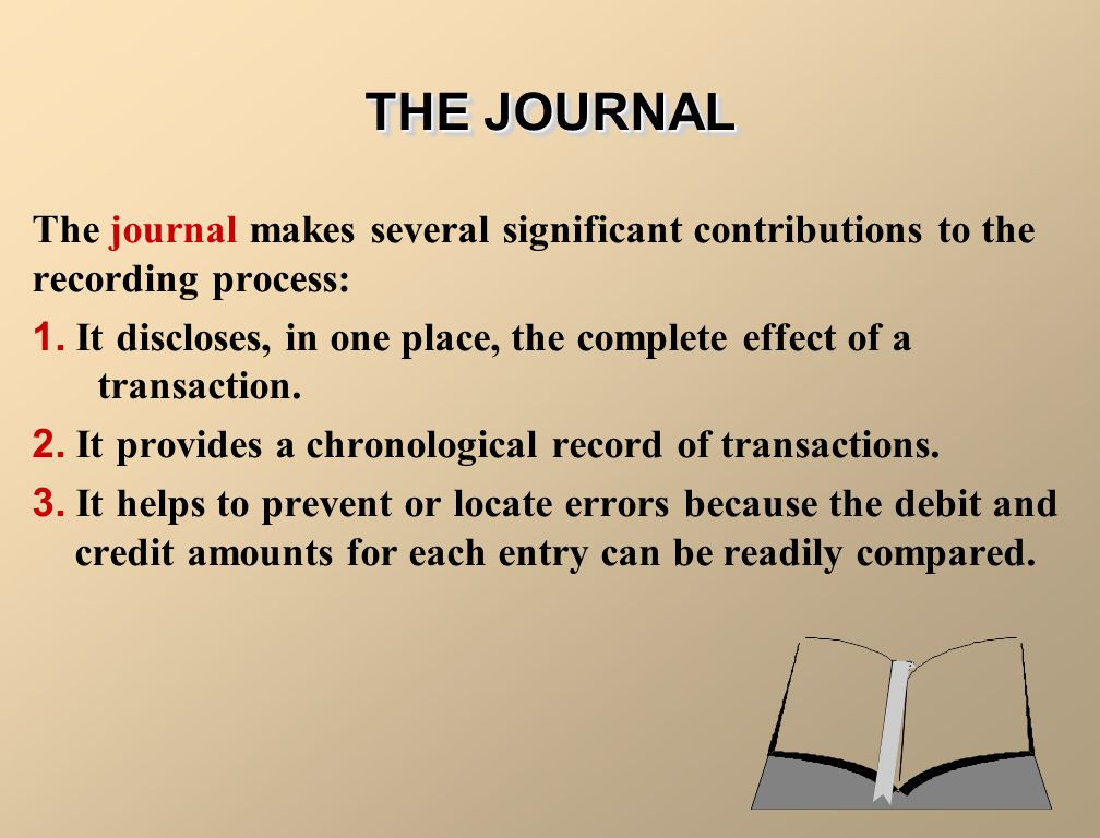 THE JOURNAL The journal makes several significant contributions to the recording process: