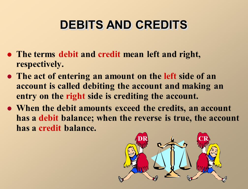DEBITS AND CREDITS The terms debit and credit mean left and right, respectively.