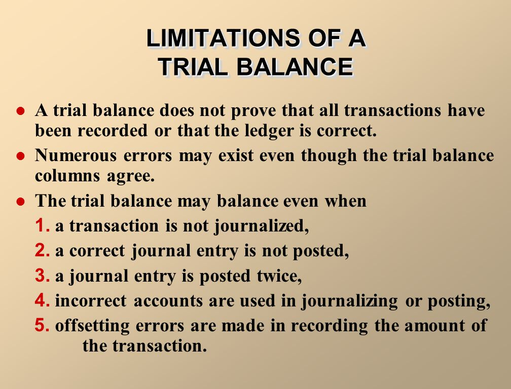 LIMITATIONS OF A TRIAL BALANCE