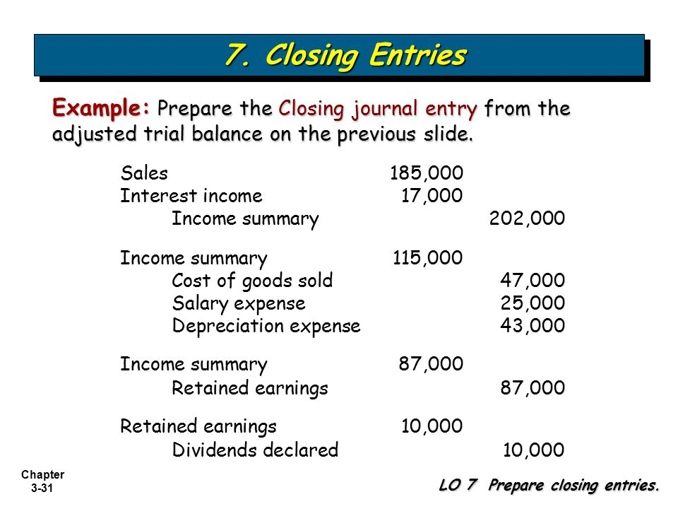 7. Closing Entries Example: Prepare the Closing journal entry from the adjusted trial balance on the previous slide.