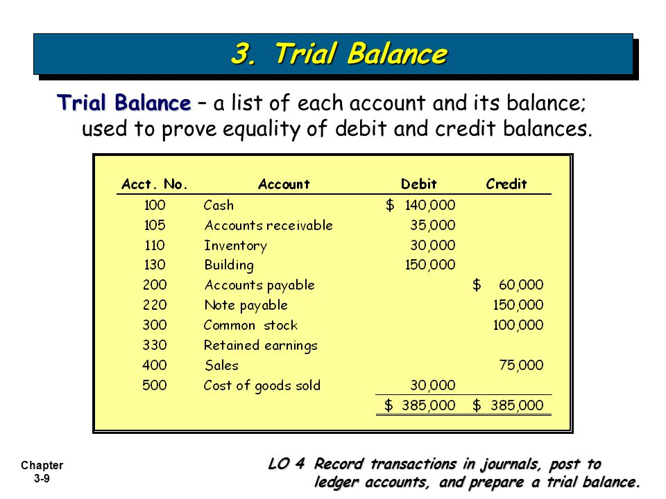 3. Trial Balance Trial Balance – a list of each account and its balance; used to prove equality of debit and credit balances.
