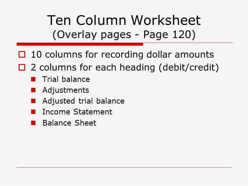 Adjusting Entries And The Worksheet Ppt Video Online Download. Worksheet. Ten Column Worksheet In Accounting At Clickcart.co