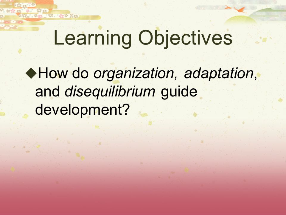Learning Objectives How do organization, adaptation, and disequilibrium guide development