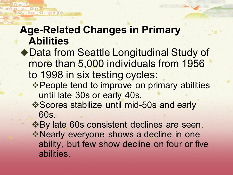 Age-Related Changes in Primary Abilities
