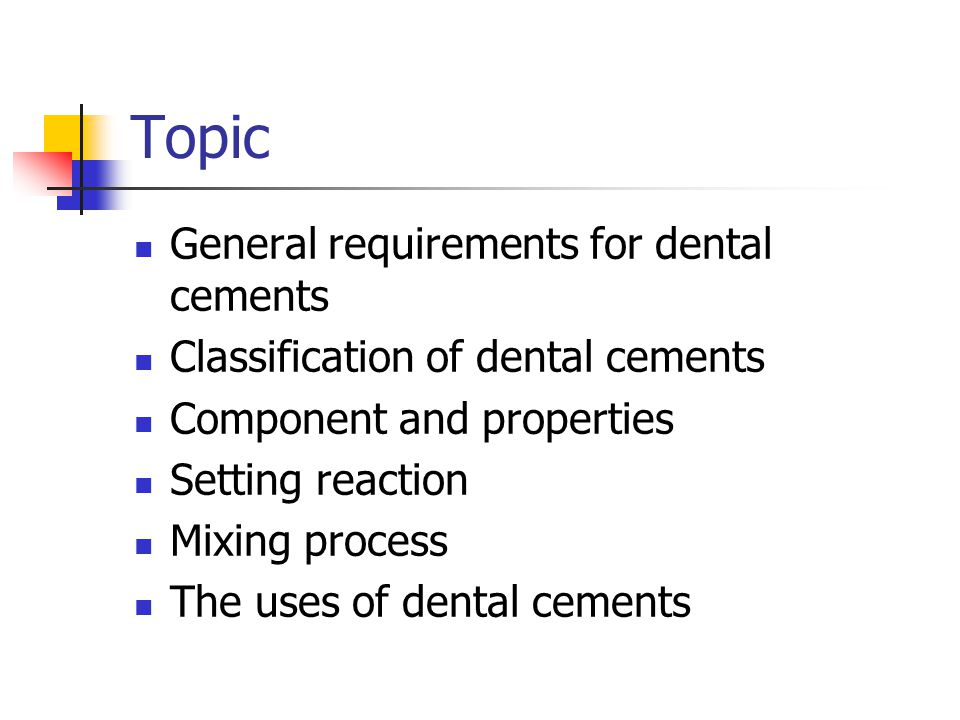 classification of dental cements