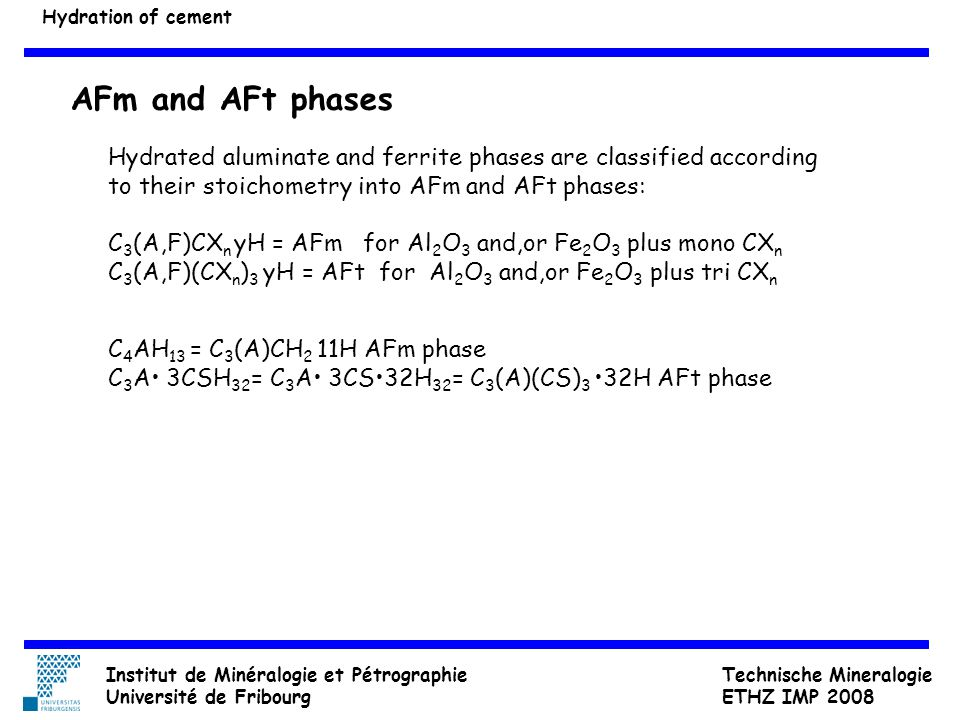 Hydration of cement AFm and AFt phases.