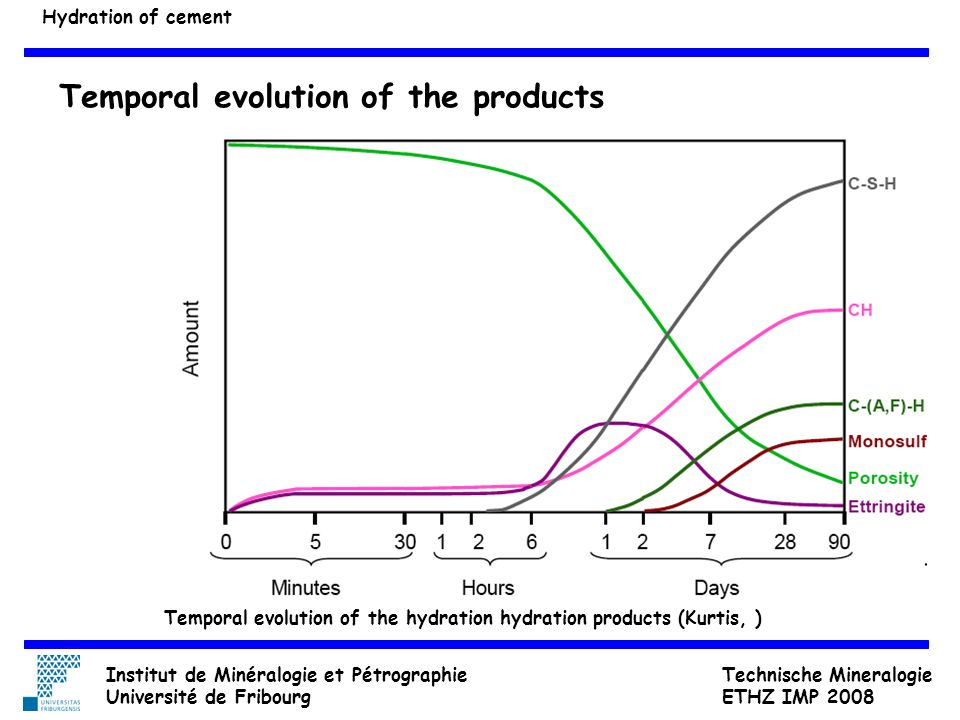 Temporal evolution of the products