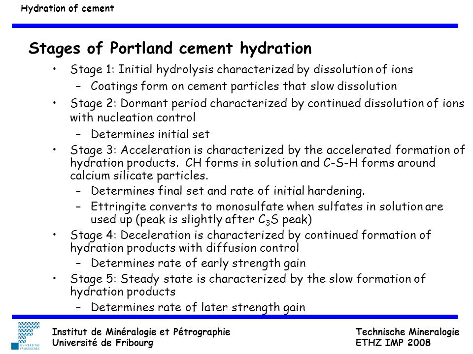 Stages of Portland cement hydration