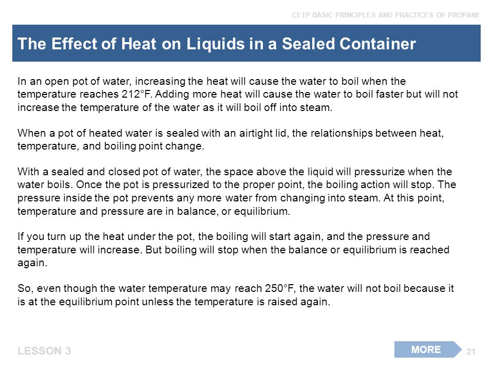 The Effect of Heat on Liquids in a Sealed Container