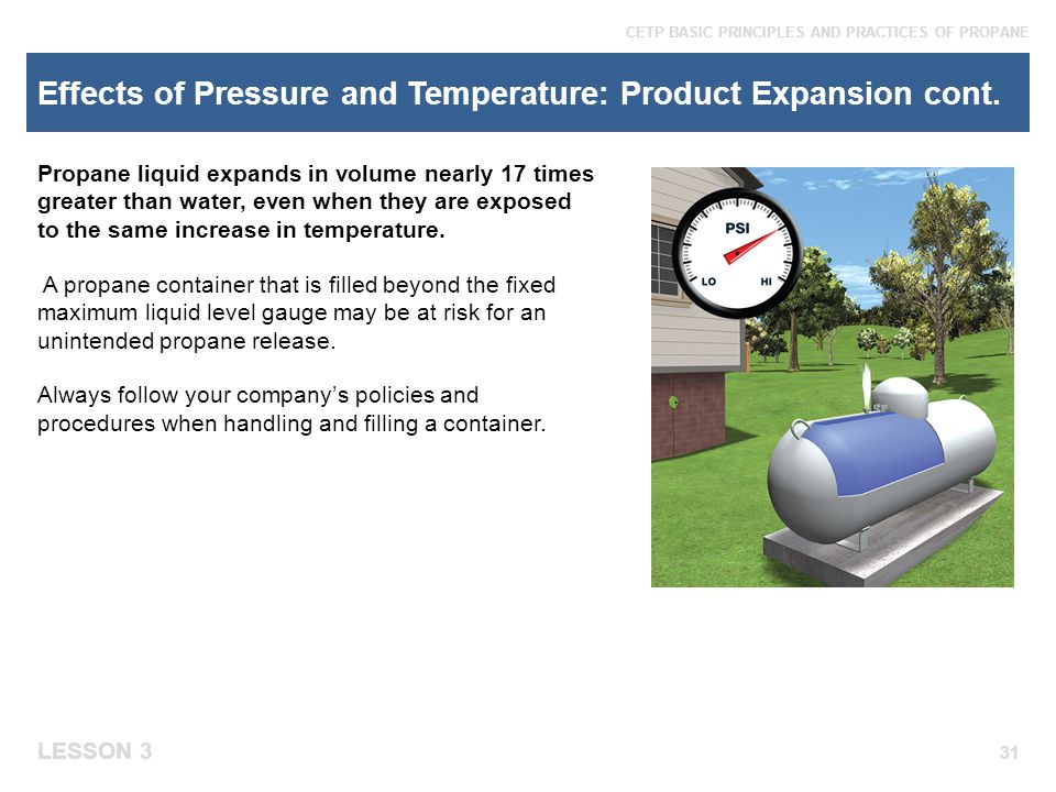 Effects of Pressure and Temperature: Product Expansion cont.
