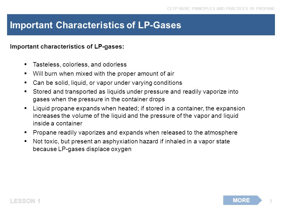 Important Characteristics of LP-Gases