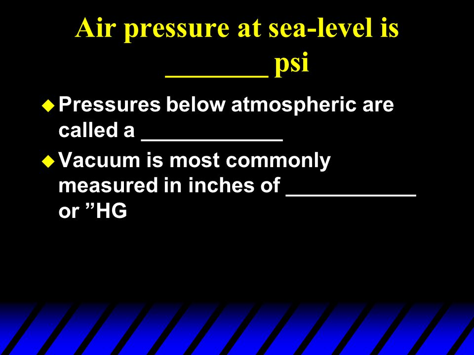 Air pressure at sea-level is _______ psi