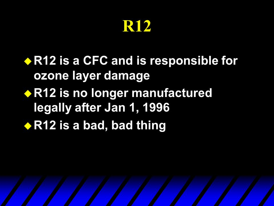 R12 R12 is a CFC and is responsible for ozone layer damage