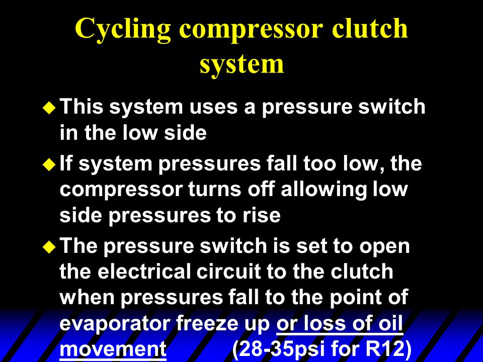 Cycling compressor clutch system