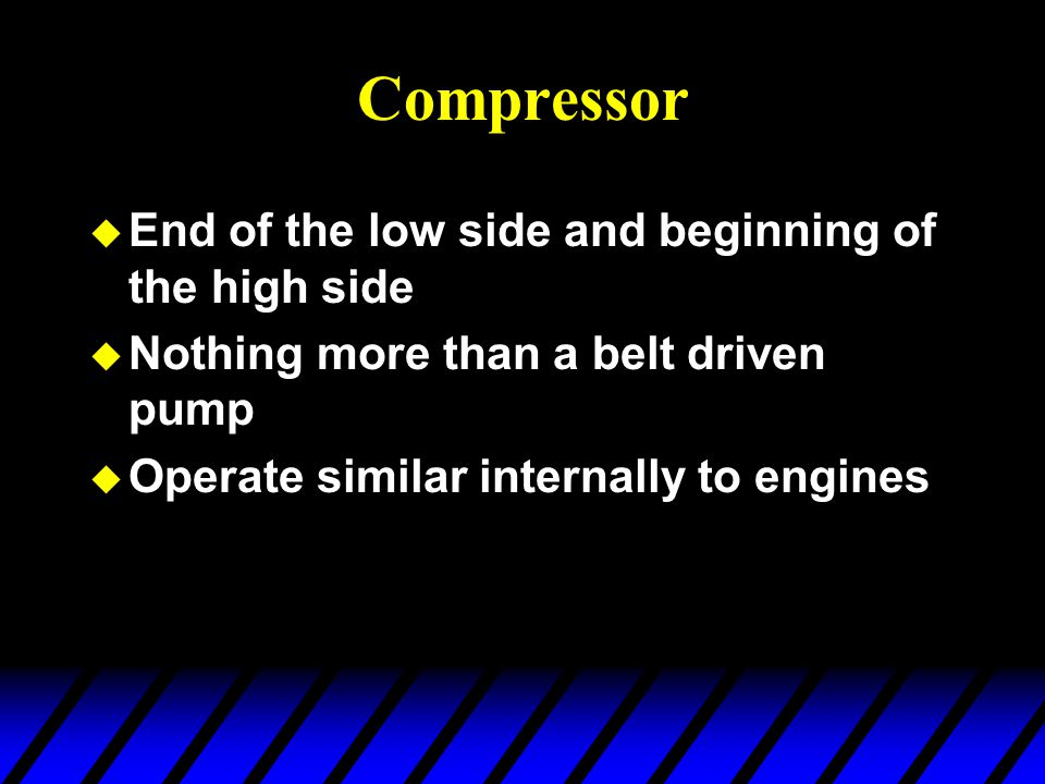 Compressor End of the low side and beginning of the high side