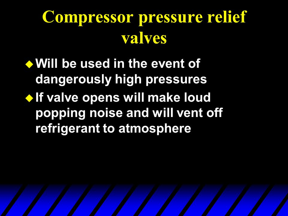 Compressor pressure relief valves