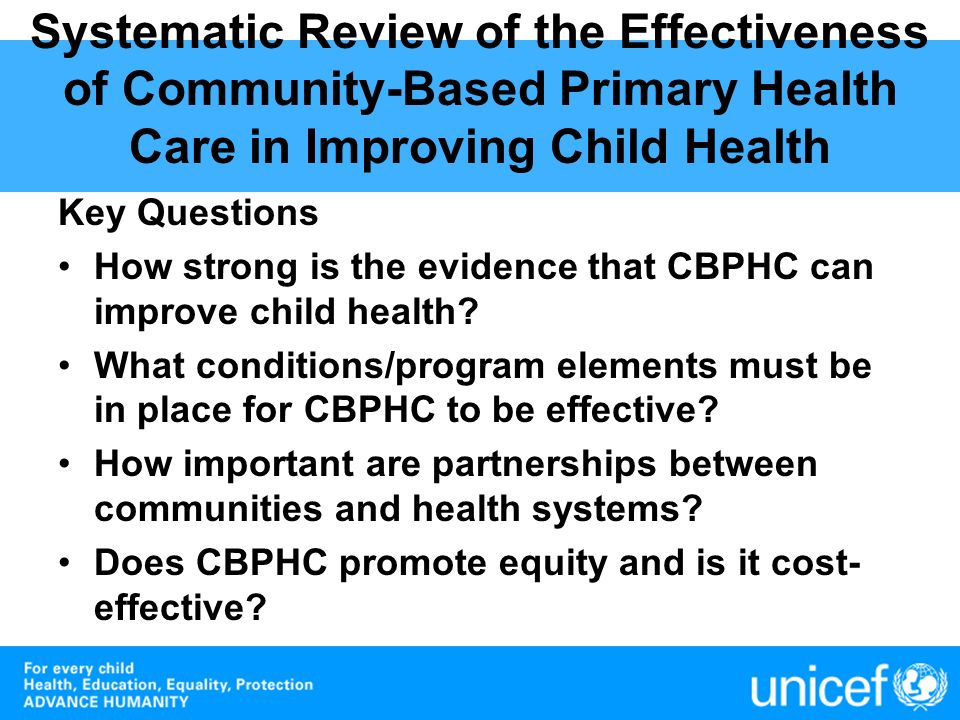 Systematic Review of the Effectiveness of Community-Based Primary Health Care in Improving Child Health