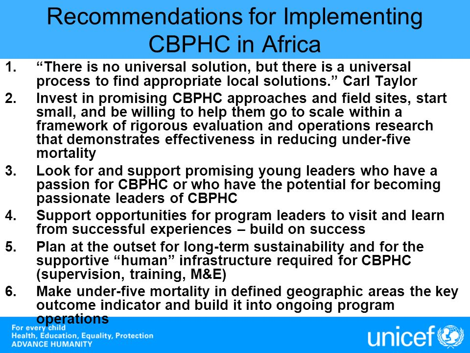 Recommendations for Implementing CBPHC in Africa