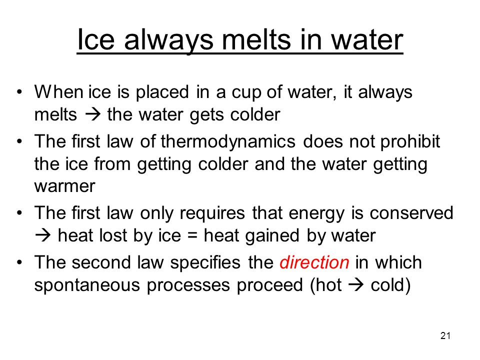 Ice always melts in water