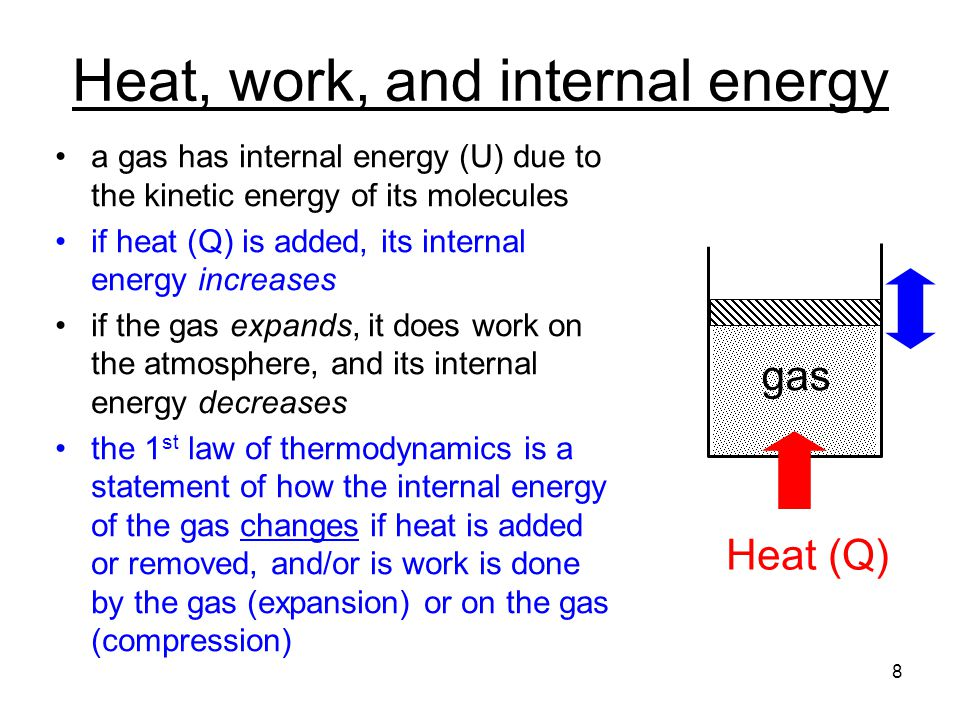 Heat, work, and internal energy