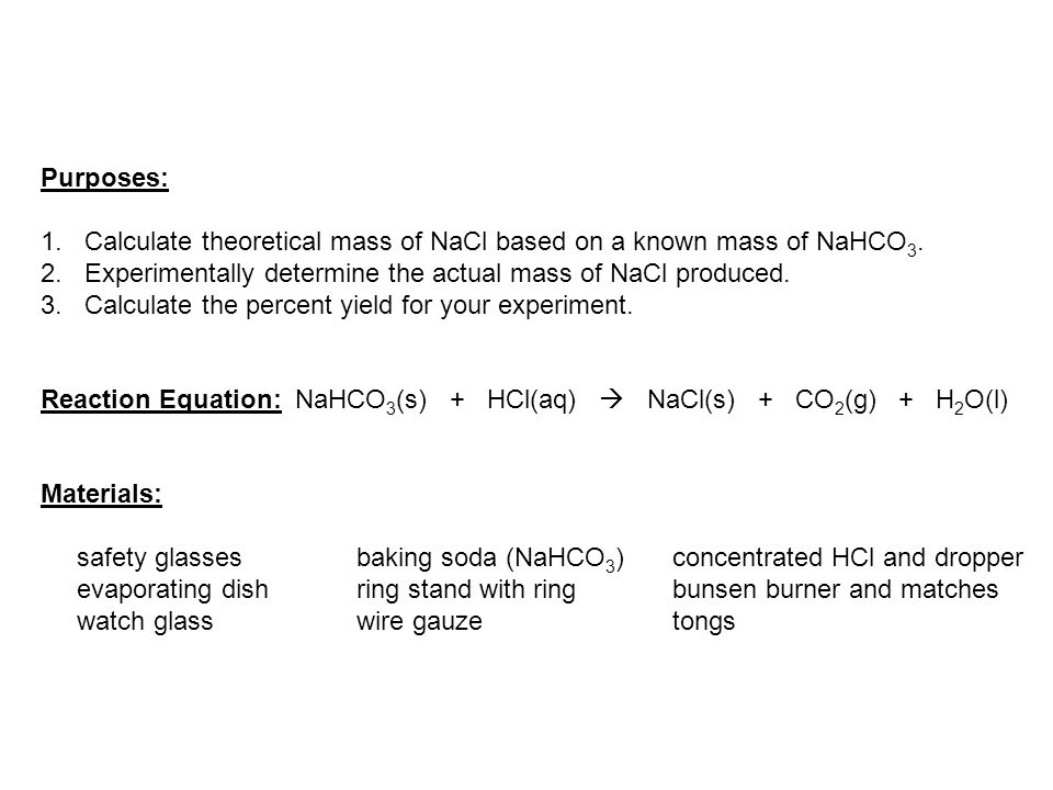 stoichiometry and baking soda lab report