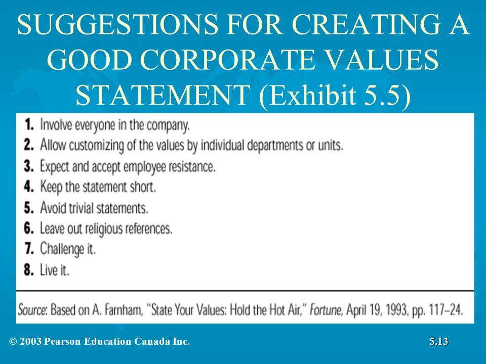 SUGGESTIONS FOR CREATING A GOOD CORPORATE VALUES STATEMENT (Exhibit 5