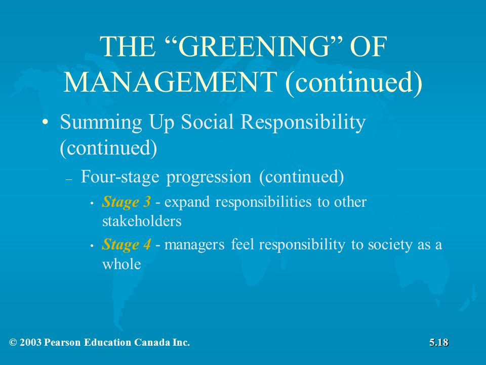 THE GREENING OF MANAGEMENT (continued)