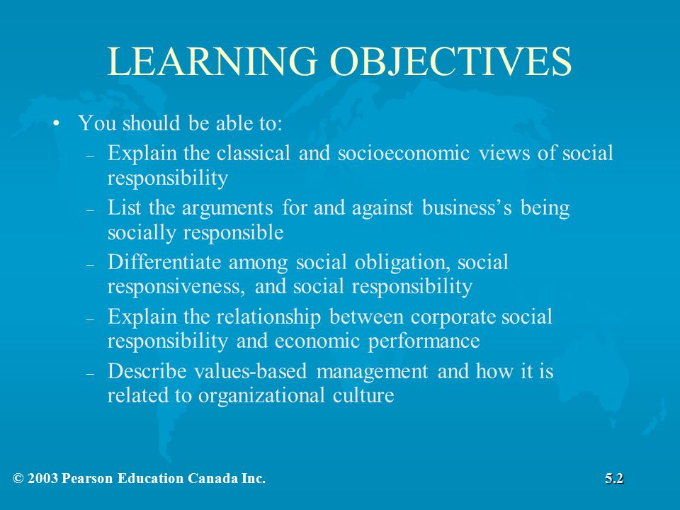 LEARNING OBJECTIVES You should be able to: