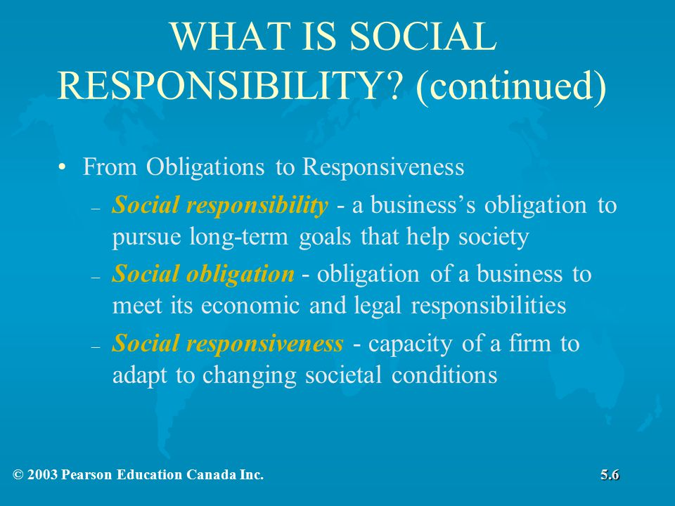 WHAT IS SOCIAL RESPONSIBILITY (continued)