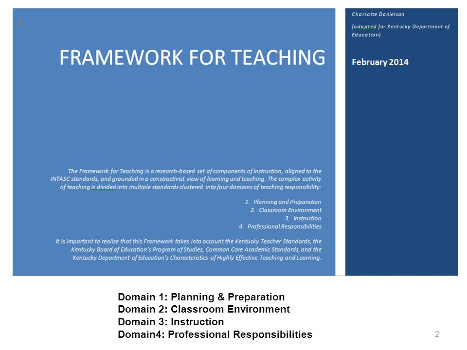 Domain 1: Planning & Preparation Domain 2: Classroom Environment