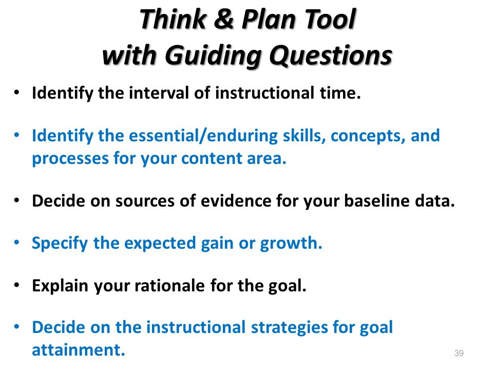 Think & Plan Tool with Guiding Questions