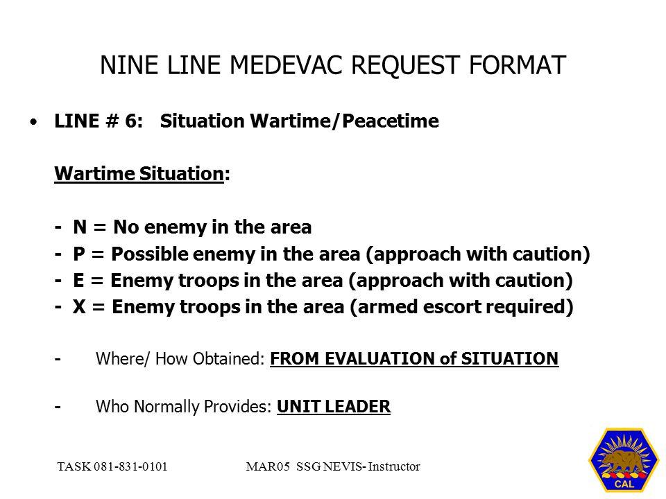 NINE LINE MEDEVAC REQUEST FORMAT