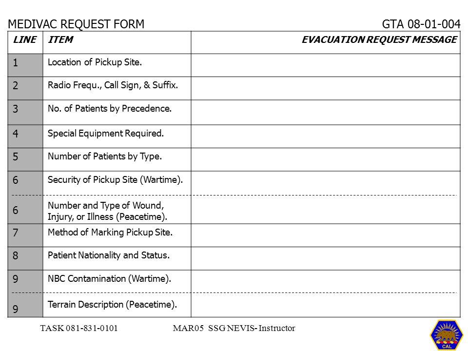 MEDIVAC REQUEST FORM GTA