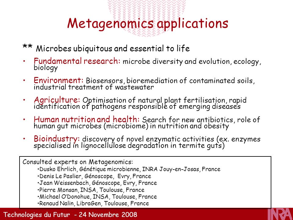 Metagenomics applications