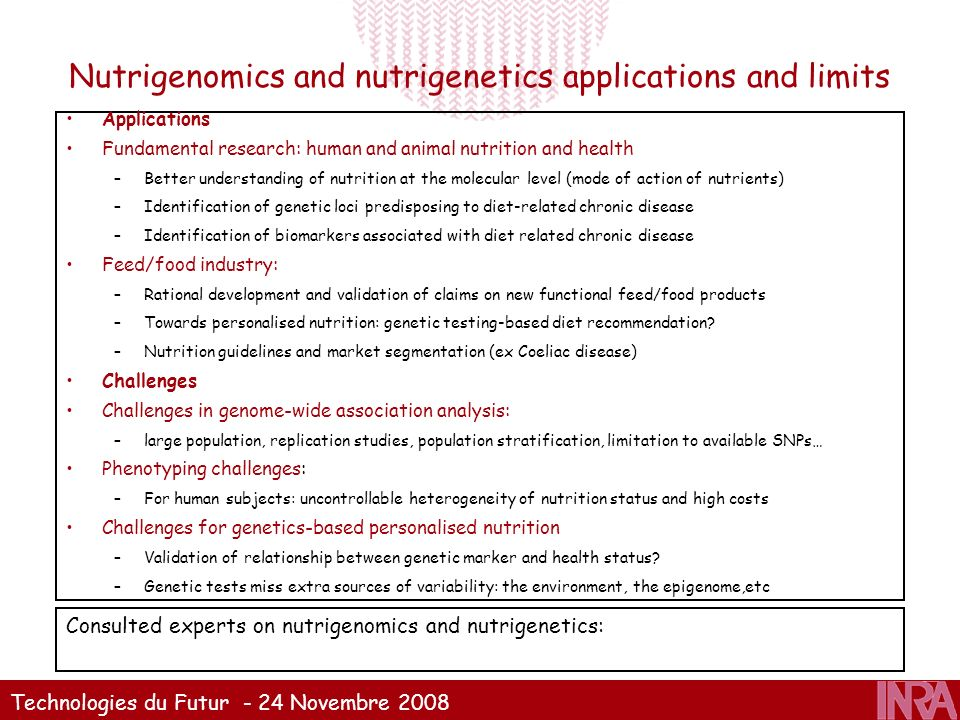 Nutrigenomics and nutrigenetics applications and limits