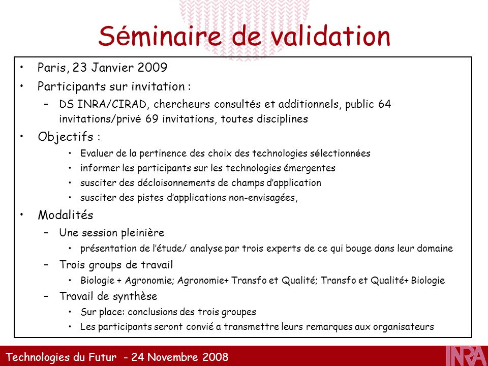 Séminaire de validation