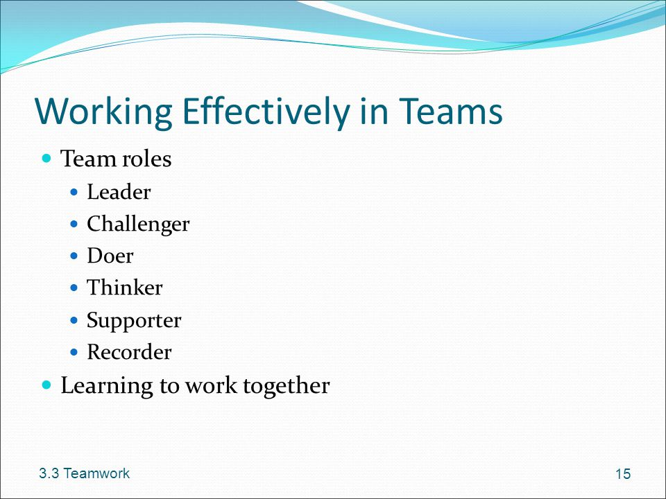 Working Effectively in Teams