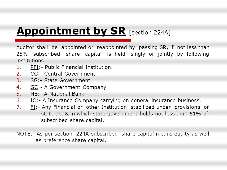 Appointment by SR [section 224A]