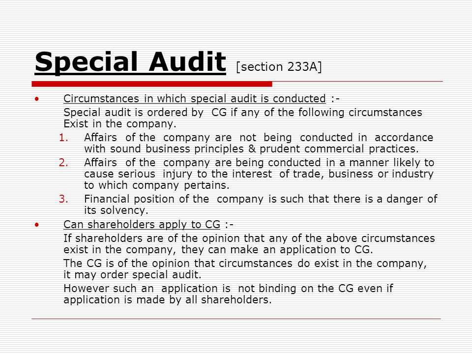 Special Audit [section 233A]