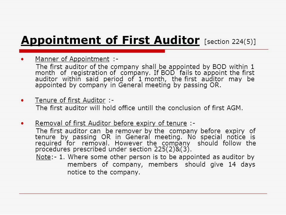 Appointment of First Auditor [section 224(5)]