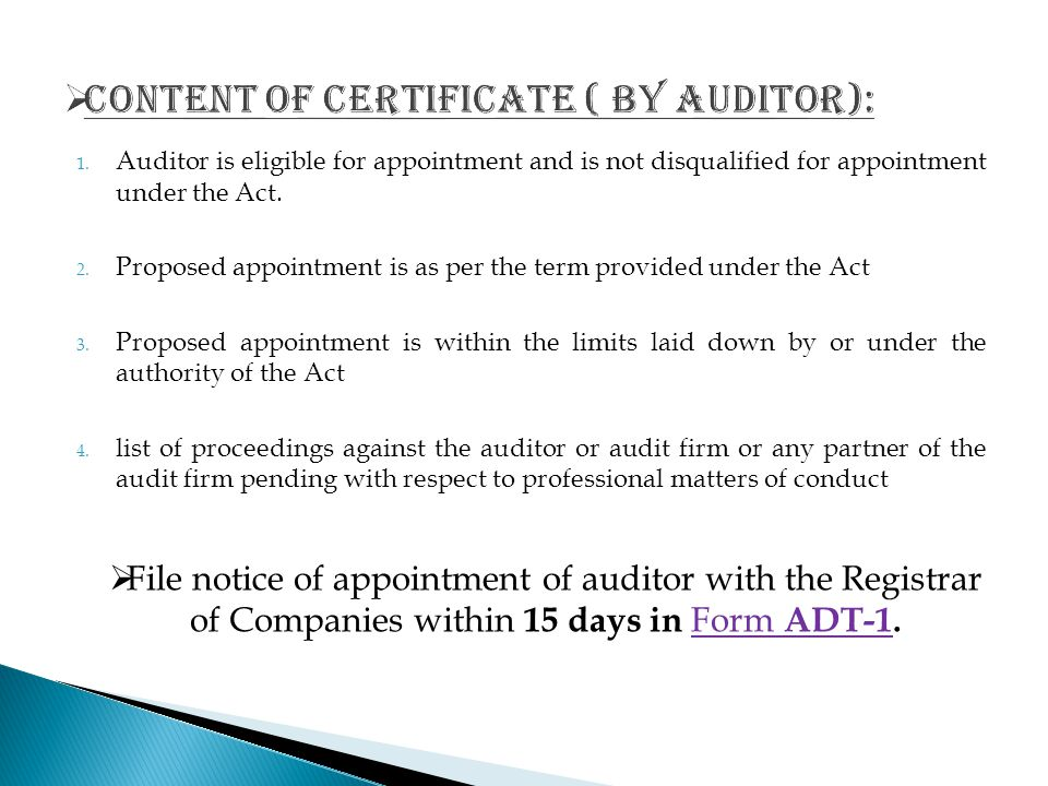 Content of certificate ( BY AUDITOR):