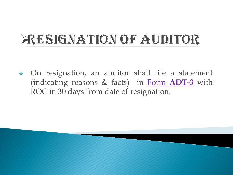 Resignation of Auditor