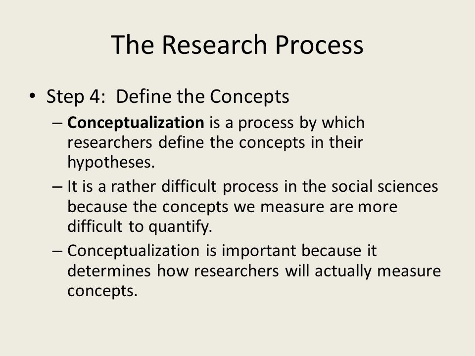 The Research Process Step 4: Define the Concepts