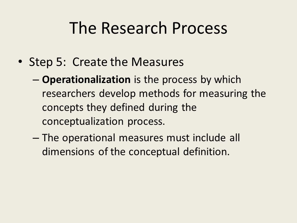 The Research Process Step 5: Create the Measures