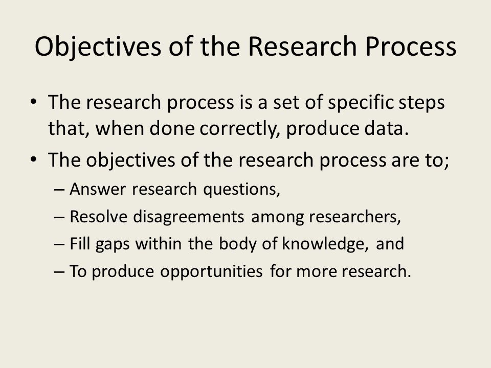 Objectives of the Research Process
