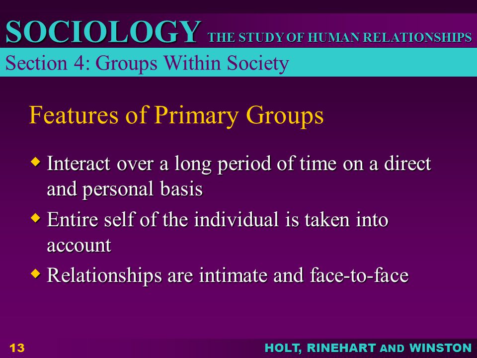Features of Primary Groups