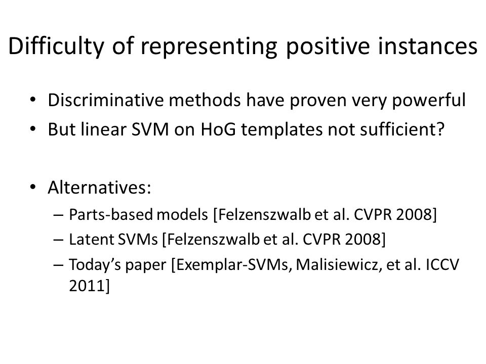 Difficulty of representing positive instances