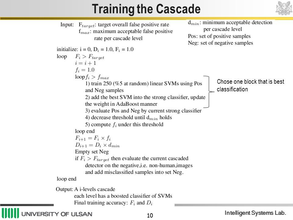 Training the Cascade Chose one block that is best classification